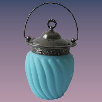 Antique Robin's Egg Blue Glass Biscuit Barrel