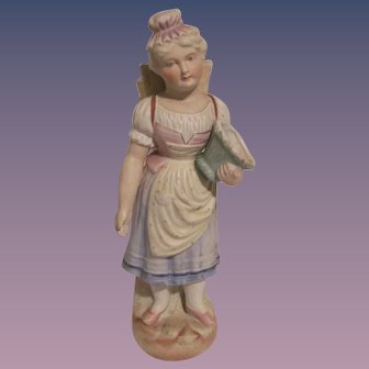 """Vintage Heubach Style Figurine of """"Girl with Baskets"""""""