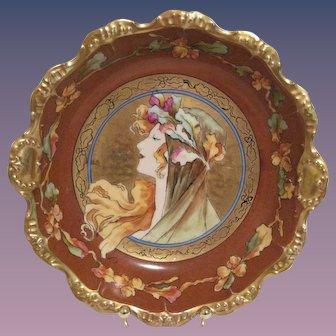 Antique Art Nouveau Style Cabinet Plate/Bowl - Gold Gilding