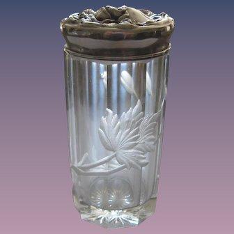 Sterling Silver Dresser Jar/Engraved Floral Design