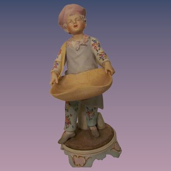 "Hand Painted Bisque Figurine ""Baker's Boy"""
