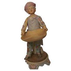 "Hand Painted Dresden Bisque Figurine ""Baker's Boy"""