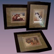 3 - Vintage Multi Color French Dog Prints c.1924