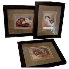3 - Vintage Multi Color French Dog Prints c.1924