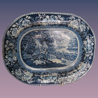 Historical Blue Staffordshire Platter - R. Hall, England