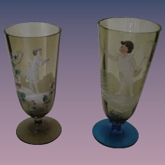 Pr. Victorian Hand Painted Glass Tumblers