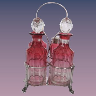 Unique Cranberry Glass Cruet/Castor  Set - Silver Accents - W. Briggs & Co.