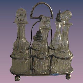 Antique English Crystal Cruet/Castor Set - Silver