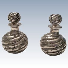 Pr. Matching Sterling Silver Perfume Bottles