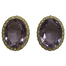 Large Oval Original Solid 18kt 1940's Faceted Amethyst Earrings Surrounded by Seed Pearls