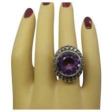 Original Victorian Circa 1900 Natural Cushion Cut Amethyst and Rose Cut Diamonds Ring...18kt