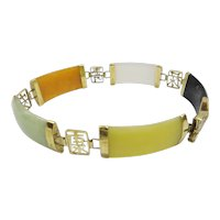 Estate Solid 14kt Gold 5 Linked Section Natural Multi-Color Wide Jade Bracelet...Beautiful Chinese Motif