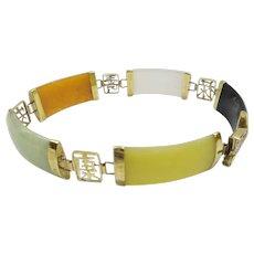 Estate Solid 14kt Gold 5 Linked Section Natural Multi-Color Wide Jade Bracelet...Beautiful Chinese Motif