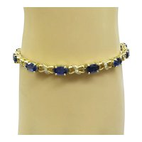 Estate Solid 14kt Gold Linked Natural Sapphire and Diamond Bracelet 13 Faceted Sapphires 6-1/2 Carat....Very Nice