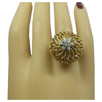 1960's Estate Hand made Solid 14kt. Dome Design Natural Diamond Cocktail Ring. ...Outstanding