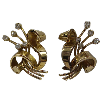 Original  Retro 1940's Solid 18kt Pink Gold Diamond Earrings.   Absolutely stunning