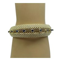 Fantastic Solid 14kt Estate 1960's Wide Heavy Mesh Bracelet with Natural Sapphires....44.9 Grams