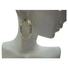 Lovely Solid 14kt Estate Natural Diamond Baguette Hoop Earrings...3.20 cts.  Diamond Total