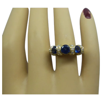 Fantastic Solid 14kt Natural Sapphires and Fine Diamonds Estate Ring