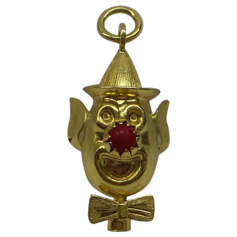 18kt Solid Gold Clown Charm With Coral Nose
