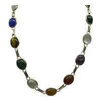 Original 1920's Solid 14kt Egyptian Revival Carved Multi-Gemstone Scarab 15 Section Necklace