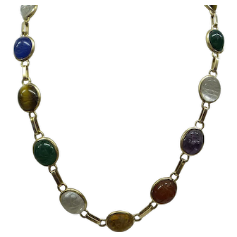 Original 1920's Solid 14kt Egyptian Revival Carved Multi-Gemstone Scarab 15 Section Necklace