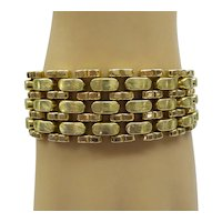 Solid 18kt Wide and Heavy 2 Color Gold 1970's Estate Bracelet... 58.8 Grams