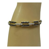 Estate Solid 14kt Natural Square Cut Sapphires and Diamonds Linked Bracelet