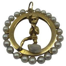 Very Large Original  1950s Solid 14kt Signed M Hime Cyvra Cherub and Pearl Charm...23.1 grams...Fabulous