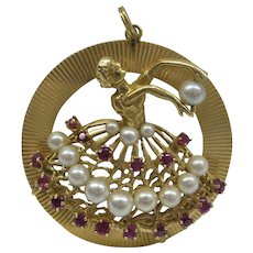 Very Large Solid 14kt Gold Dimensional Dancing Ballerina Charm with Rubies and Pearls 1950's Original 17.9 Grams