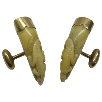 Very Rare and Unique Victorian Circa 1880's Carved Crocodile Teeth Cufflinks set in Gold
