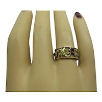Super Original Retro 1940's Solid 14kt Pink and Green Gold Natural Ruby and Diamond Wide Band Ring