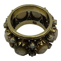 Solid 14kt Very wide all around multi-cameo band ring