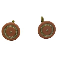 Great Solid 18kt Estate Natural Salmon Color Coral and Fine Diamond Cufflinks...Wonderful
