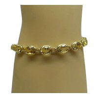 Beautifu Estate Solid 14kt 17 Stone Natural Oval Faceted Golden Citrine Bracelet