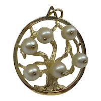 """1950's Solid 14k Gold  Large """" Tree Of Life """" Charm with 6 Cultured Pearl....Very Nice"""