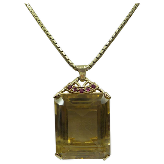 Fantastic Solid 14kt Original Retro 1940's Very Large Rectangular Step Cut Natural Golden Citrine ( 60 carats) and Ruby Pendant with Original Chain.