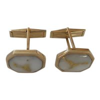 Original 1940's 14k Gold as found in nature Pure Gold Vein Nuggett in Quartz Cufflinks.. Wonderful