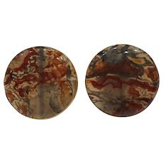 Unique Large 14kt. 1950's Circular Natural Moss Agate Cufflinks...One of a Kind