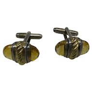 Estate Signed David Yurman 14kt and Sterling Silver Cufflinks with fully Faceted double ended Natural Citrine Stones..Very Nice Quality
