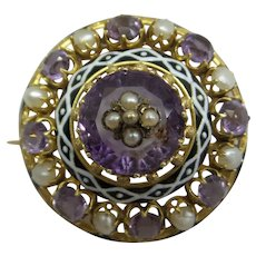 Fabulous Original 1870's Early Victorian Solid 18kt Natural Amethyst and Natural Pearls Pin.  Magnificent