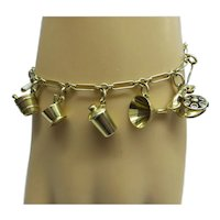 Super 1920's Solid 14kt bar related miniature Charm Bracelet 11 unique Charms