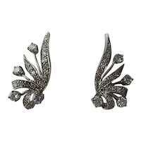 Very Fine 14kt. White Gold Original 1950's fan shape Genuine Diamonds Earrings..Wonderful
