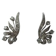 Very Fine 14kt. White Gold Original 1950's fan shape Genuine Diamonds Earrings..Wonderful