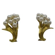 Estate 1960's Solid 18kt sprouting Bouquet of Pearls Flower Motif Earrings