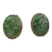 Beautiful 14k Gold 1940's Natural Carved Pierced Jade Earrings