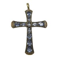 Magnificent Very Large Antique Silver and Gold Genuine Aquamarine and Rose Diamond Cross.. 11 Aquamarine Stones over 10 Carats