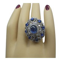 Fabulous Estate Solid 18kt White Gold Natural Sapphire and Diamond Cocktail Ring  2 cts. Diamonds  5.40 cts. Sapphires