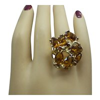 1970's Large Solid 14kt  Freeform Cluster Ring with 7 Genuine Marquis Cut Golden Citrine Stones....Total of 12.25  Carats...14.5 Grams