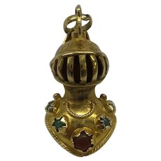Original Large Solid 18kt 1950's 3 Dimensional Medieval Night in Armor Charm....Wonderful